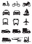 image of transportation icons  - Vector icons of vehicles for different mode of transportation - JPG