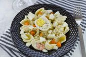 stock photo of pasta  - egg pasta salad made with shell pasta - JPG