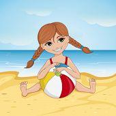 stock photo of beach-ball  - Illustration of a little girl on a beach with beach ball - JPG