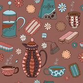 picture of teapot  - Seamless pattern with biscuits marmalade mugs and teapots - JPG