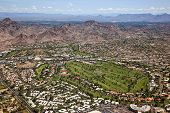 stock photo of piestewa  - Golf and recreation activities in Phoenix looking towards Scottsdale Arizona in the distance - JPG