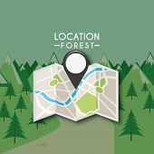 picture of gps  - gps location design with forest and map - JPG