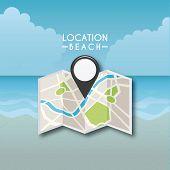 stock photo of gps  - gps location design at beach - JPG