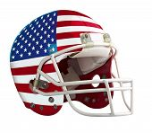 picture of football helmet  - Flagged USA American football helmet isolated on a white background with detailed clipping path - JPG