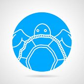 foto of sea-turtles  - Abstract round blue vector icon with white line sea turtle on gray background - JPG