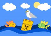 stock photo of toxic substance  - toxic waste in the ocean and the afraid fish funny cartoon illustration - JPG