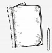stock photo of sketch book  - Hand drawn doodle sketch open notebook - JPG