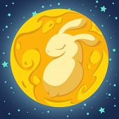 foto of blue moon  - Yellow rabbit in the moon on the blue background - JPG