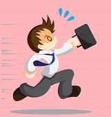 pic of running-late  - Cartoon vector of running office worker with bag - JPG