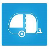 pic of camper  - camper car symbol on blue square button - JPG
