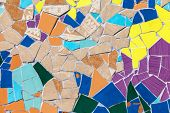 stock photo of ceramic tile  - Ceramic glass colorful tiles mosaic composition pattern background - JPG