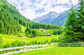 Постер, плакат: Alpine landscape and green meadows Alps Austria