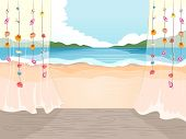 stock photo of beachfront  - Illustration of the Beach Viewed from a Cottage - JPG