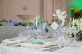 stock photo of banquet  - Elegant table set up for a wedding banquet - JPG