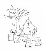 picture of cemetery  - cemetery with graves on white background isolated - JPG
