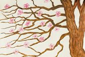 stock photo of traditional  - Hand painted picture watercolours tree with pink flowers in traditions of old traditional Japanese and Chinese painting - JPG