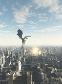 stock photo of fiction  - Science fiction or fantasy illustration of a dragon making a fiery attack on a future city - JPG