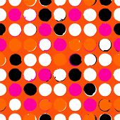 foto of color spot black white  - Bold geometric pattern with randomly colored circles in pink orange black and white colors - JPG