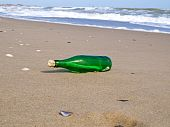 Bottle With A Note Has Beaten A Wave