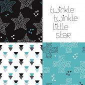 picture of twinkle  - Twinkle little star postcard hand lettering and geometric seamless stars night theme kids abstract background pattern in vector - JPG