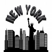 stock photo of statue liberty  - New york Buildings with statue of liberty on background - JPG