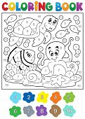 stock photo of sea-turtles  - Coloring book with sea animals 4  - JPG