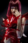 picture of woman dragon  - geisha robot with red armor - JPG