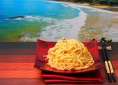 pic of carbonara  - spaghetti carbonara served on a wooden table top - JPG