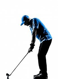 image of swing  - one man golfer golfing golf swing in silhouette studio isolated on white background - JPG