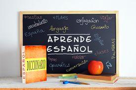 picture of classroom  - Blackboard in a Spanish classroom - JPG