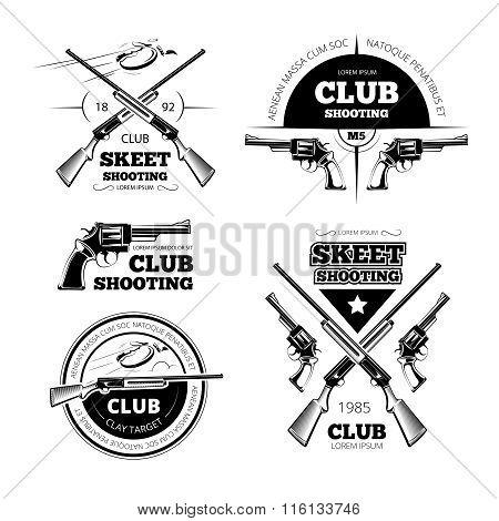 Vintage gun club vector labels