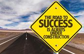 The Road to Success is Always Under Construction sign on desert road poster