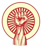 stock photo of communist symbol  - Soviet cold war propaganda poster style revolution fist raised in the air - JPG