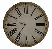 stock photo of tick tock  - old clock face with roman numerals over white background - JPG
