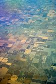 Birds Eye View Of Center Pivot Irrigation Farming
