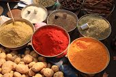 Bowls Of Cooking Spices In Indian Market