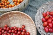 Baskets Of Three Varieties Of Cherry Tomatoes