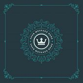 Постер, плакат: Royal Logo Design Template Flourishes calligraphic elegant ornament lines