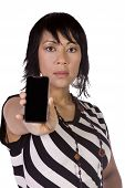 Beautiful Asian-hispanic Woman Holding A Cell Phone
