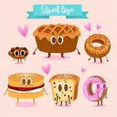 A set of cute sweets. Illustration with funny characters. Love and hearts. Funny food. Cookies, appl poster