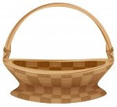 Постер, плакат: Empty wicker basket with handle Straw basket