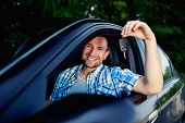 Young Man With Keys Of New Car Smiling