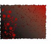 Dark Red Grunge Spattered Floral Background - Vector Illustration