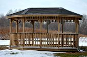 Wooden Gazebo in Winter