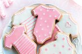 image of babygro  - Cookies decorated with a baby girl theme - JPG