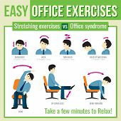Office exercises with businessman character. Vector infographic poster