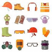 Flat job safety equipment vector icons set poster