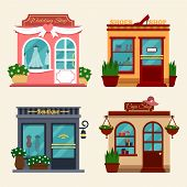 ������, ������: Vector illustration of buildings that are shops for buying presents Set of nice flat shops Differe