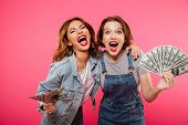 Picture of emotional pretty two women friends holding money isolated over pink background. Looking c poster