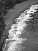Hawaii Black Sand Beach Bw